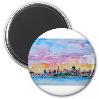 San Francisco of the dawn sunset 6 Cm Round Magnet