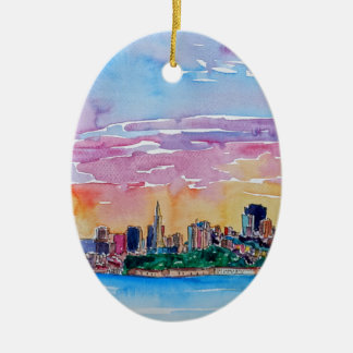 San Francisco of the dawn sunset Ceramic Oval Decoration