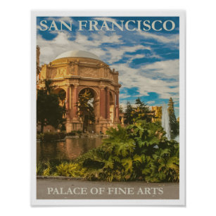 San Francisco vintage style travel poster Palace of Fine Art