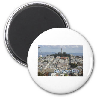 San Francisco Postcard Style 6 Cm Round Magnet