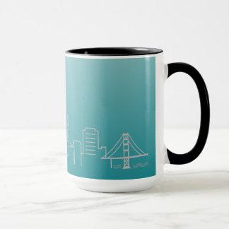 San Francisco Silver City Skyline Ringer Mug
