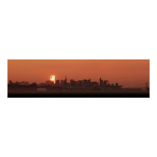 San Francisco Skyline / Bay Bridge Sunset Panorama Poster