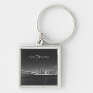 San Francisco Skyline Black White Photo Keychain