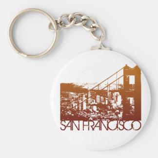 San Francisco Skyline Design Basic Round Button Key Ring