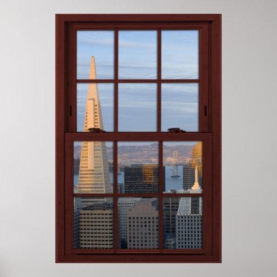 San Francisco Skyline Faux Cherry Wood Window Poster