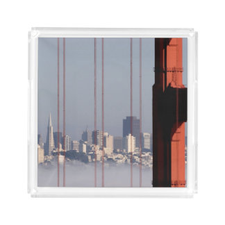 San Francisco Skyline from Golden Gate Bridge. Acrylic Tray