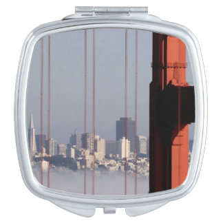 San Francisco Skyline from Golden Gate Bridge. Compact Mirrors