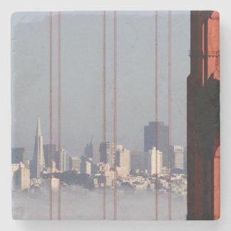 San Francisco Skyline from Golden Gate Bridge. Stone Coaster