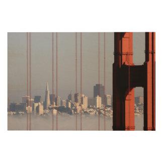 San Francisco Skyline from Golden Gate Bridge. Wood Wall Art
