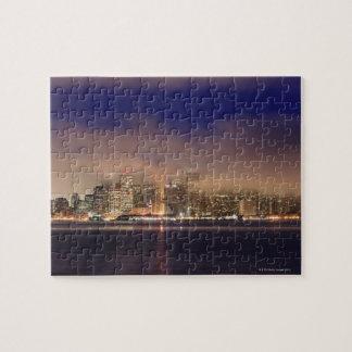 San Francisco skyline in fog at night. Jigsaw Puzzle