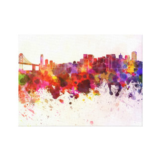San Francisco skyline in watercolor background Canvas Print