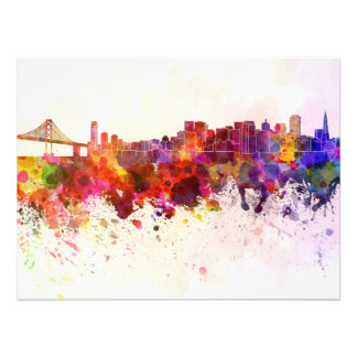 San Francisco skyline in watercolor background Photo Art