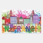 San Francisco Skyline Paint Splatter Illustration Rectangular Sticker