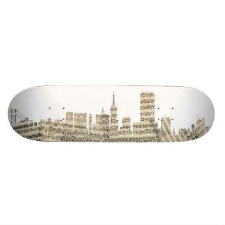 San Francisco Skyline Sheet Music Cityscape 19.7 Cm Skateboard Deck