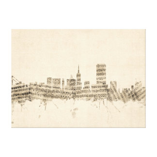 San Francisco Skyline Sheet Music Cityscape Canvas Print