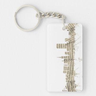 San Francisco Skyline Sheet Music Cityscape Double-Sided Rectangular Acrylic Key Ring