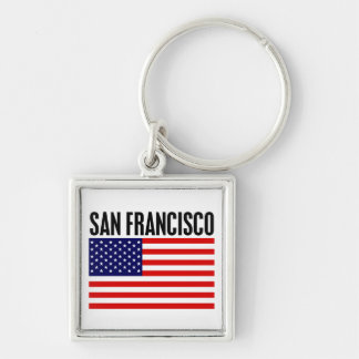 San Francisco, Stars and Stripes Silver-Colored Square Key Ring