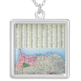 San Francisco Street Map Silver Plated Necklace