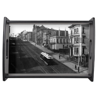 San Francisco Street with Cable Car 1901 Serving Trays