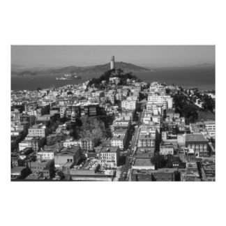 San Francisco Telegraph Hill – Black & White Photo Poster