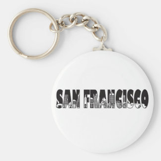 San Francisco Text Outline Illustration Key Chain