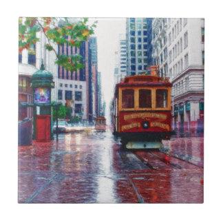 San Francisco Trolley Car by Shawna Mac Small Square Tile