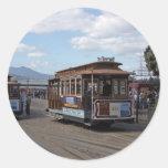 San Francisco Trolley Cars Round Sticker