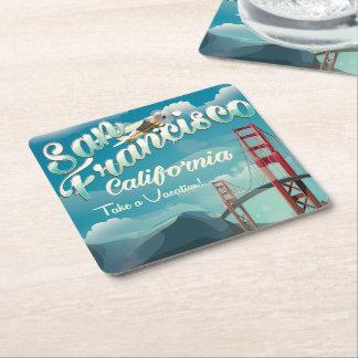 San Francisco Vacation vintage travel poster Square Paper Coaster