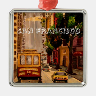 San Francisco Van Ness Cable Car Silver-Colored Square Decoration