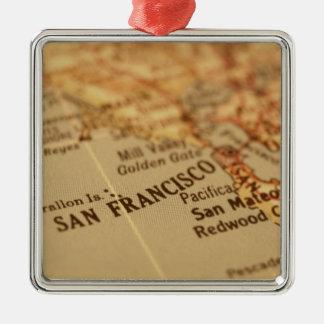 SAN FRANCISCO VINTAGE MAP Silver-Colored SQUARE DECORATION