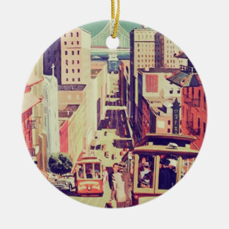 San Francisco vintage postcard Christmas Ornament