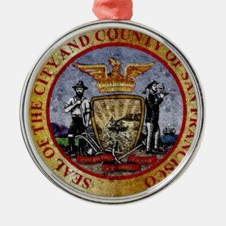 San Francisco Vintage seal Silver-Colored Round Decoration