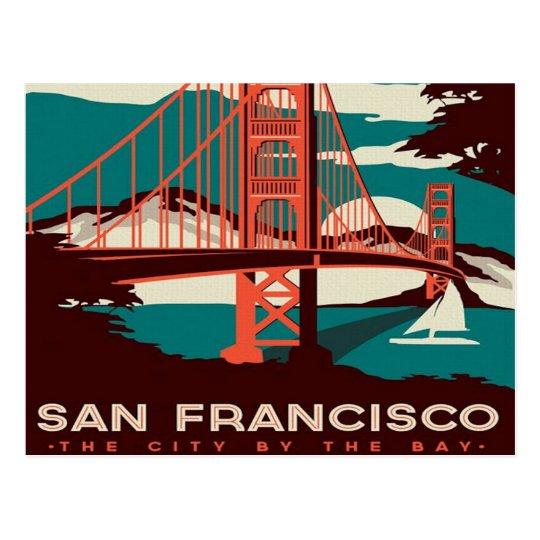 san Francisco Vintage Style Trolley retro tourist Postcard