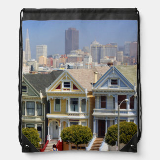 San Francisco's Famous Painted Ladies Drawstring Bag