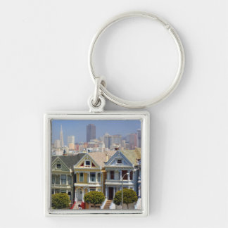 San Francisco's Famous Painted Ladies Silver-Colored Square Key Ring