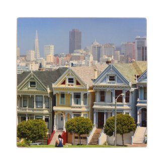 San Francisco's Famous Painted Ladies Wood Coaster