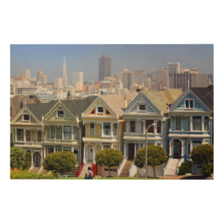 San Francisco's Famous Painted Ladies Wood Wall Art