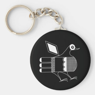 San Idelfonso Pueblo Bird Basic Round Button Key Ring