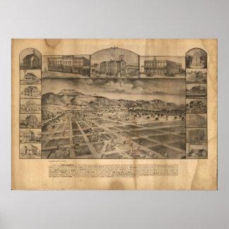 San Jacinto California 1886 Antique Panoramic Map Poster