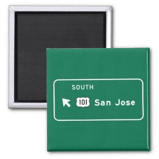 San Jose, CA Road Sign Square Magnet