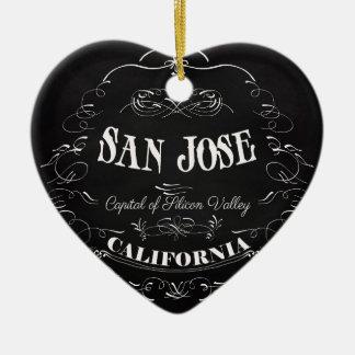 San Jose, California - Capital of Silicon Valley Ceramic Heart Decoration