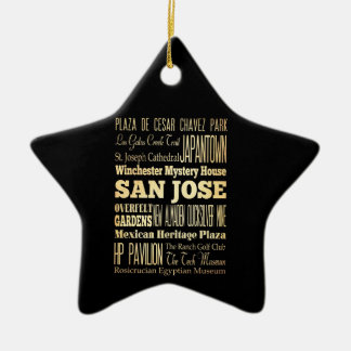 San Jose City of California State Typography Art Christmas Ornament