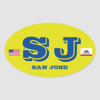 San Jose European Oval Style Sticker