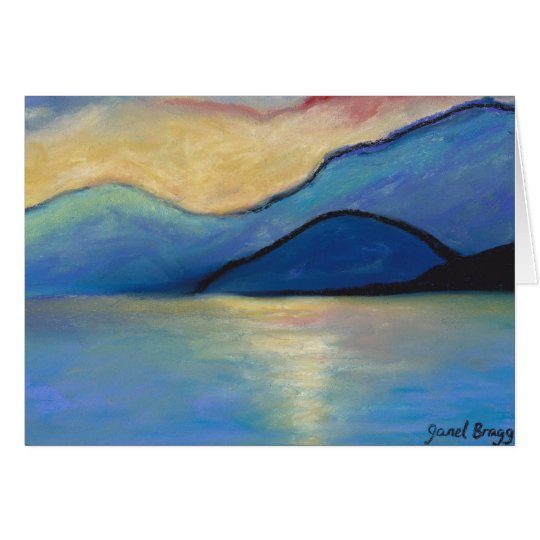 San Juan Island Twilight in Pasels Card