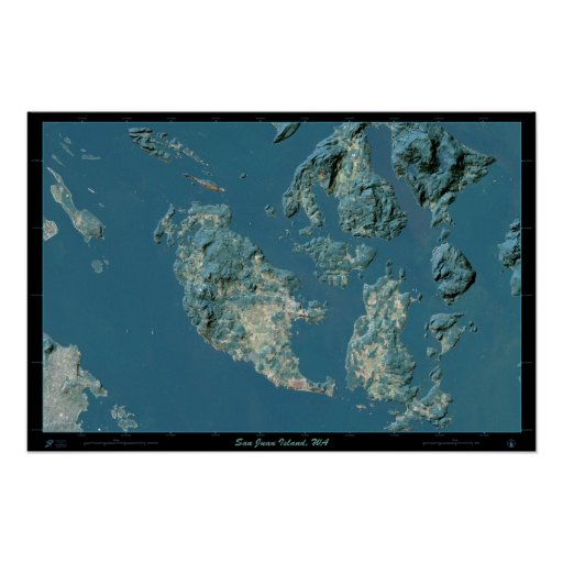 San Juan Island, Washington satellite poster