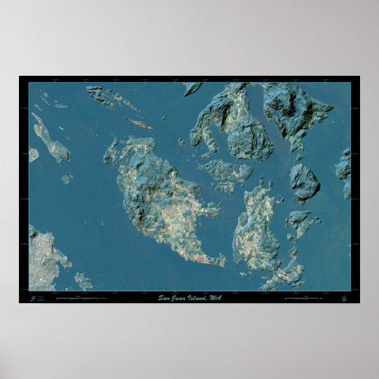 San Juan Island, Washington satellite poster