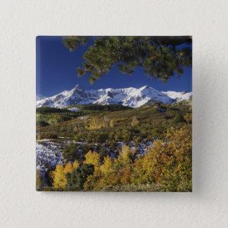 San Juan Mountains and Aspen trees in fallcolor 15 Cm Square Badge