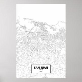 San Juan, Puerto Rico (black on white) Poster