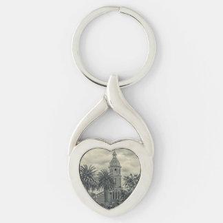 San Luis Church Otavalo Ecuador Silver-Colored Twisted Heart Key Ring