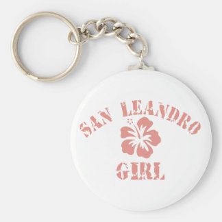 San Luis Obispo Pink Girl Basic Round Button Key Ring